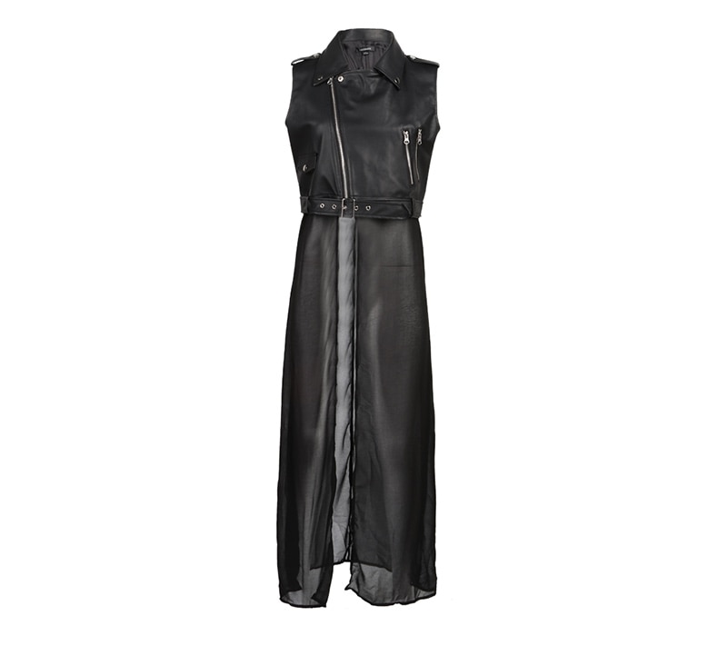 Solid PU Patchwork Chiffon Sleeveless Long Coat Jacket 6