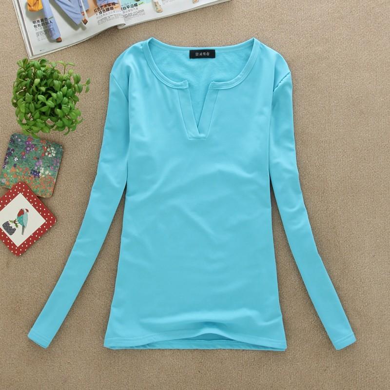 2017 stałe 14 kolory Dekolt Bluzki Sexy Szczupła Dzianiny Długi rękaw chemise femme koreański bluzki dla kobiet koszula clothing góry bluzka 19