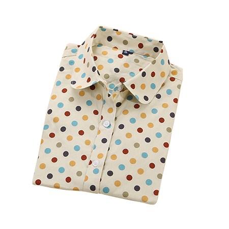 2016 Plus Size Polka Dot Bawełna Kobiety Bluzki Koszule Długie rękaw Kobiety Koszule Turn Down Collar Bawełna Dorywczo Koszula Kobiet topy 12