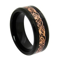 Black Tungsten Ring Rose Gold Celtic Dragon Carbon Fibre Engagement Rings Bands