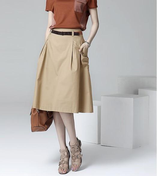 A-line Pockets Khaki and Black Button Midi Skirt 3