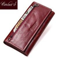 קשר של אמיתי עור נשים ארוך ארנק נקבה מצמדי כסף ארנקים מותג עיצוב תיק טלפון סלולרי בעל כרטיס ארנק