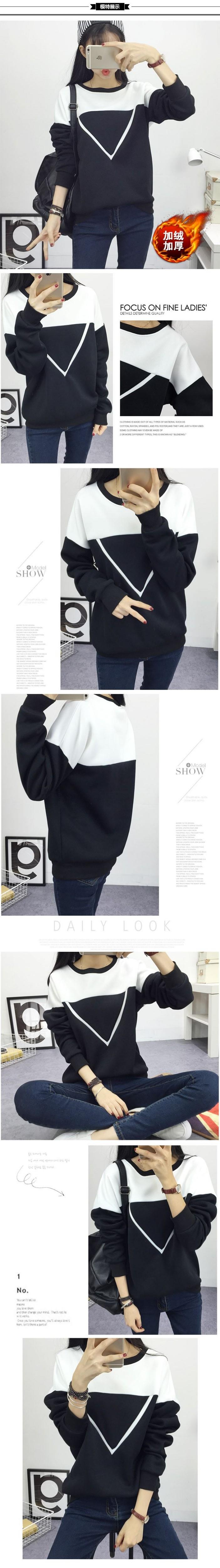 2017 Zima Nowe Mody Czarny i Biały Kolor Czar Patchwork Swetry Kobiety V Wzór Pullover Kobiet Dres M-XXL 7