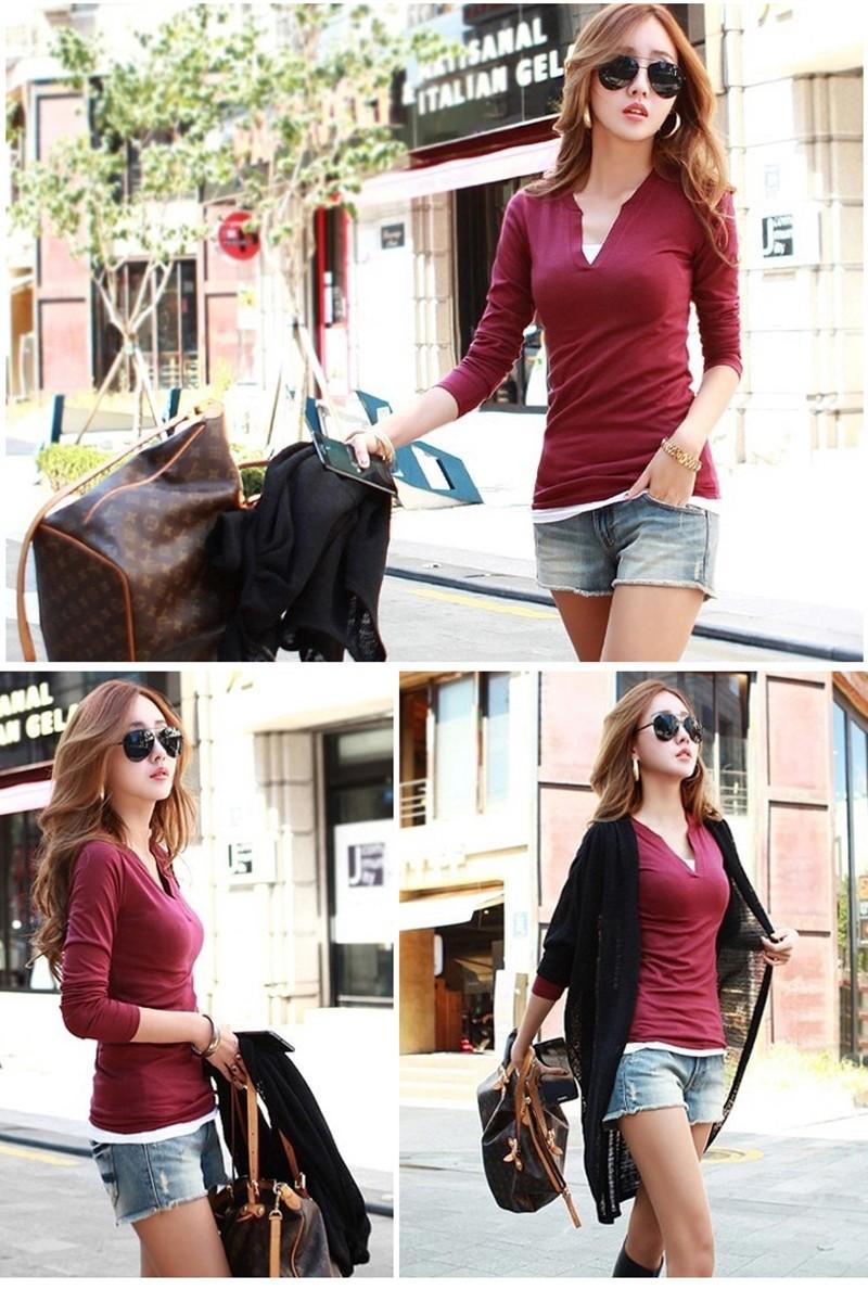 2017 stałe 14 kolory Dekolt Bluzki Sexy Szczupła Dzianiny Długi rękaw chemise femme koreański bluzki dla kobiet koszula clothing góry bluzka 7