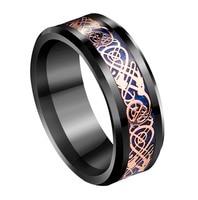 8mm Black Tungsten Ring Rose Gold Celtic Dragon Carbon Fibre Vintage Mens Engagement Wedding Jewelry
