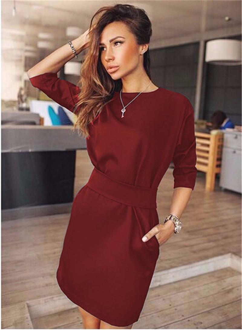 2017 jesień dress kobiety moda casual mini dress solid color krótki rękaw szyi kobiety dress dwie boczne kieszenie czarne sukienki 10