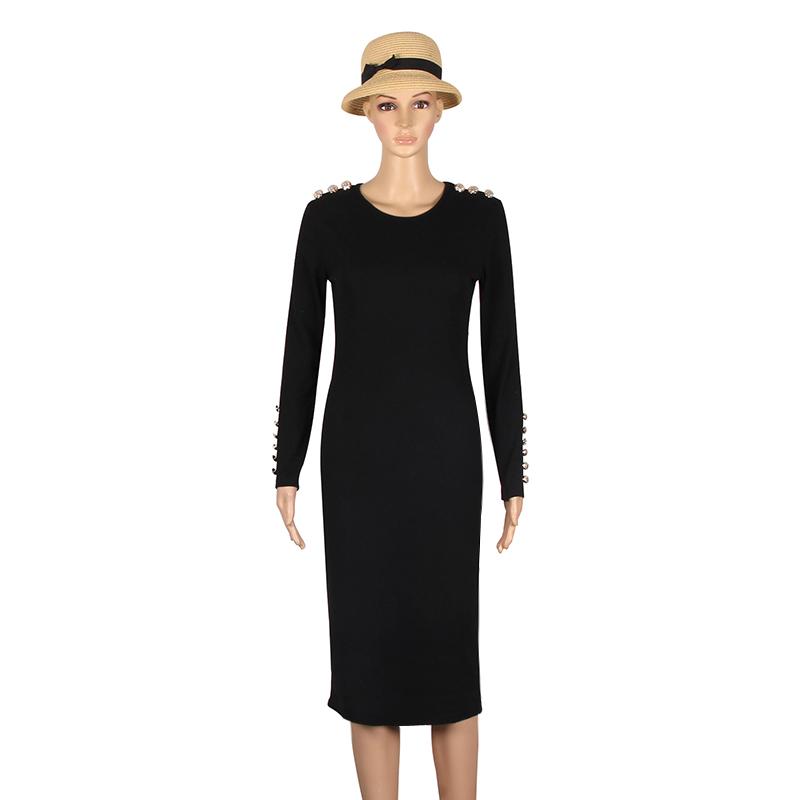 2017 fashion party dress kobiety sexy płaszcza bodycon midi dress stałe z długim rękawem z dzianiny pakiet hip dress vestidos s-xl lj7338e 9
