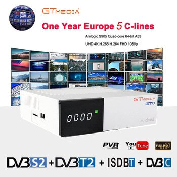 Freesat GTC 4K Android TV Box Receptor DVB-C Cable Youtube DVB-S2