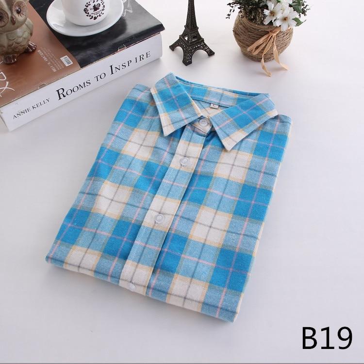 2016 Moda Plaid Shirt Kobiet College style damskie Bluzki Z Długim Rękawem Koszula Flanelowa Plus Rozmiar Bawełna Blusas Biuro topy 38