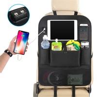 GSPSCN בעיטת מחצלות מכונית מושב אחורי מגיני, כיסי אחסון מושב אחורי ארגונית עם 4 USB מטען עבור Stowing לסדר