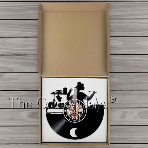 küche uhr chef silhouette vinyl record 3d wanduhr moderne