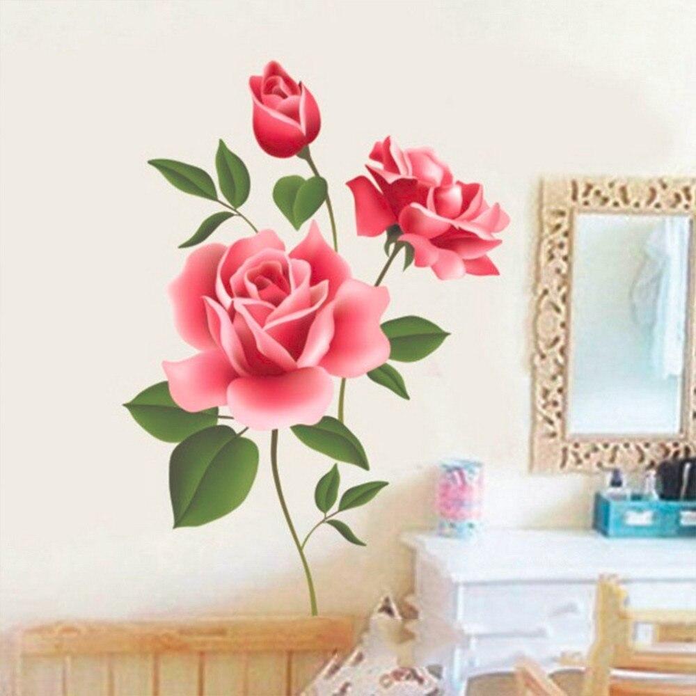 2017 Nowy Arrical Naklejki Decoratifs Maison Romantyczna Miłość Rose Flower 3D Wymienny Naklejki Ścienne Home Decor Pokoju Kalkomanie 1