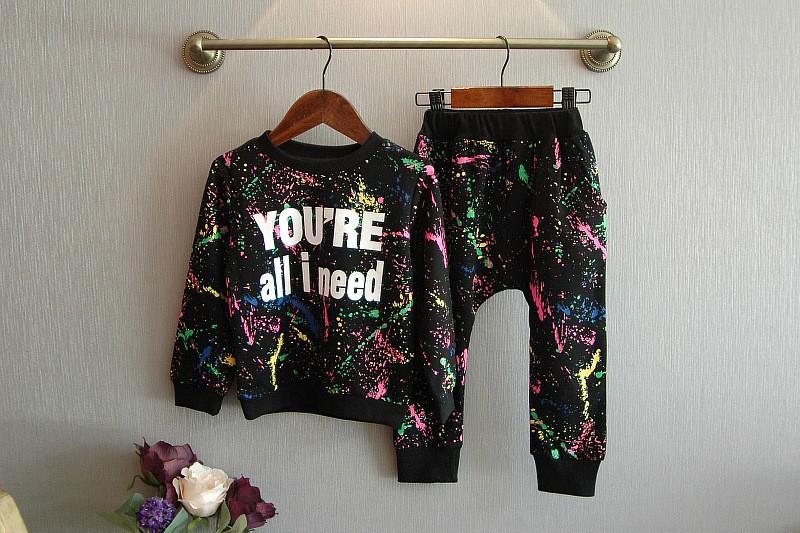 Ali Królik 2 SZTUK topy + spodnie Toddler dziewczyna odzież kolorowe drukowanie dziewczyny ubrania dres dziewczynek dzieci 2 3 4 5 lat 7 tkaniny 8