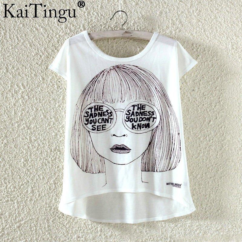 Kaitingu kawaii śliczne t koszula moda lato harajuku wysoki niski styl cat print t-shirt z krótkim rękawem t shirt kobiet topy plus size 10