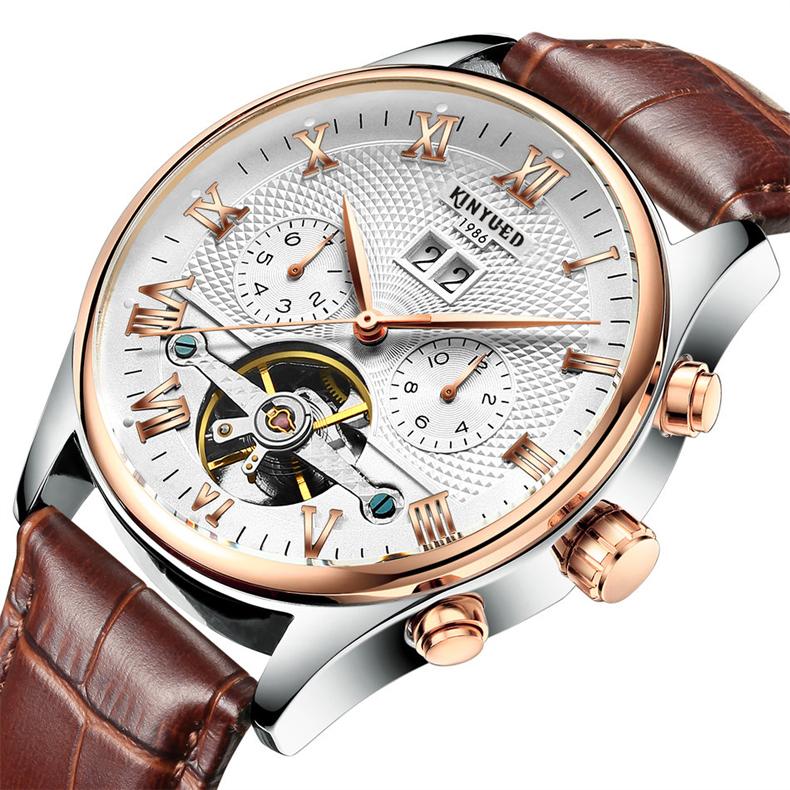 Kinyued Skeleton Watch Mężczyźni Automatyczna Wodoodporna Top Marka Męskie Zegarki Mechaniczne Skóry Kalendarza Złota Róża Relógio Masculino 1