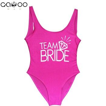 90fd4035031cb Team BRIDE Letter Print Diamond Pattern One Piece Swimsuit Women—Free  Shipping