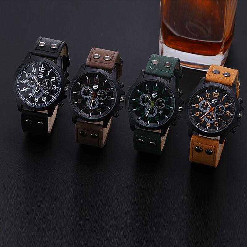 2016 New Business Quartz watch Men sport Zegarki Wojskowe Mężczyźni Corium Skórzanym Paskiem armii zegarek zegar godziny Kompletna Kalendarz 2