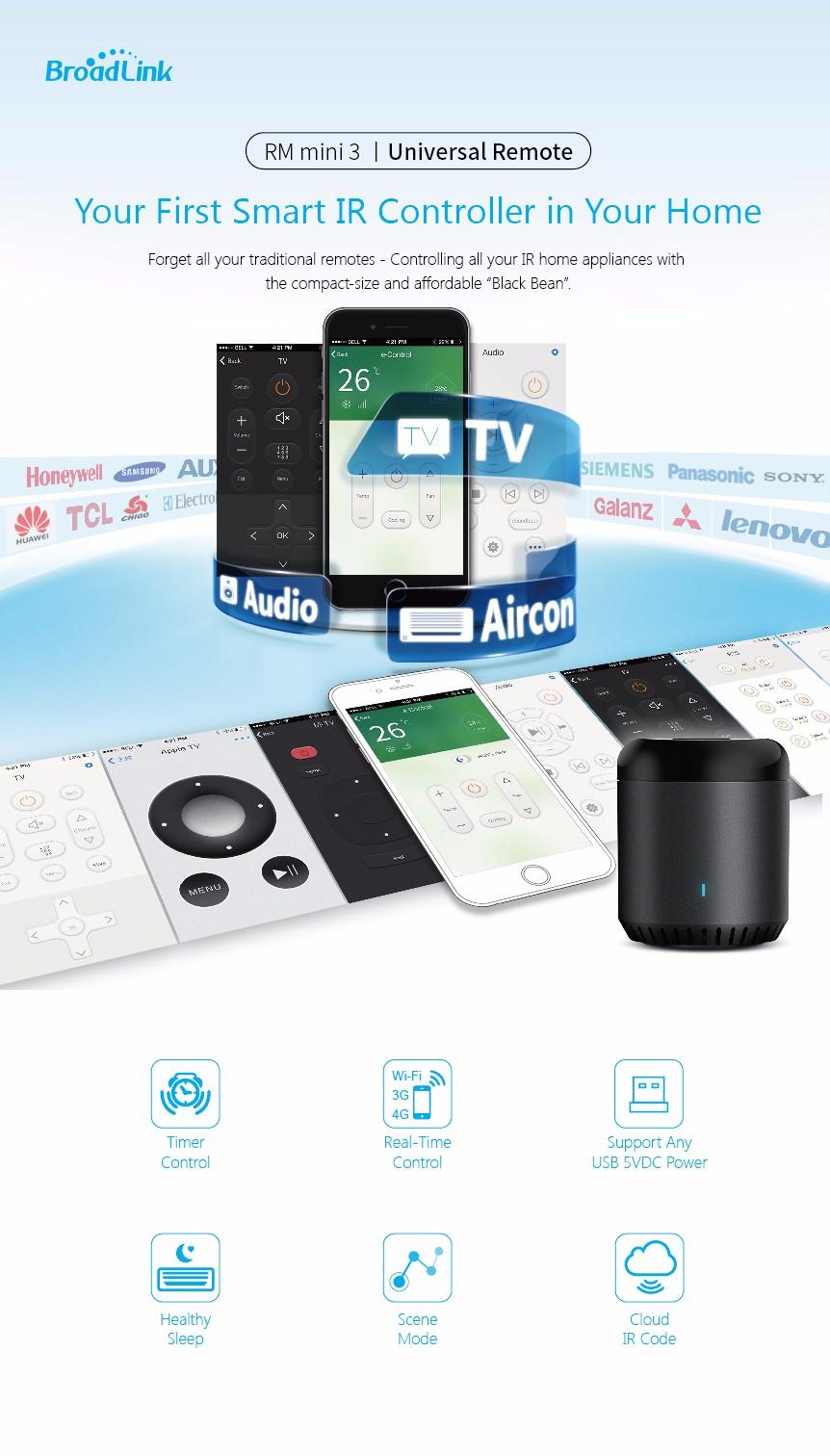 Broadlink RM3 RM Pro/RM mini3 Automatyki Inteligentnego Domu Uniwersalny Inteligentny Pilot WIFI + IR + RF Przełącznik dla iOS Android 25