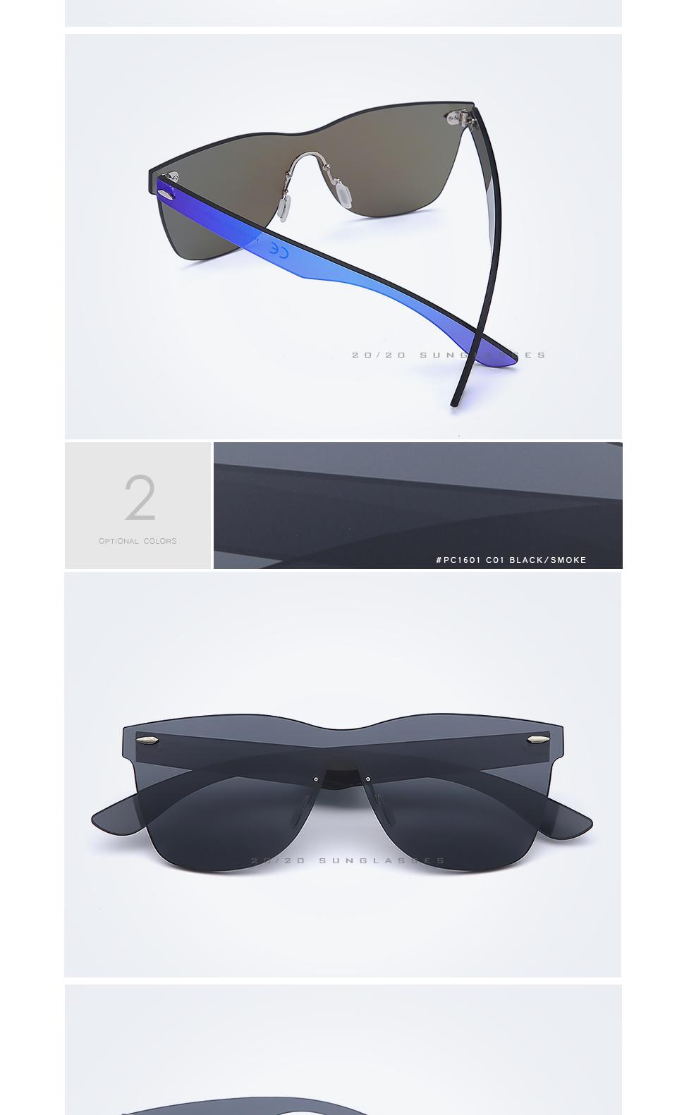 20/20 Marka Vintage Style Bez Oprawek Okularów Przeciwsłonecznych Mężczyzna Soczewka Płaska PC1601 Kwadratowych Rama Kobiety Okulary Óculos Gafas 3