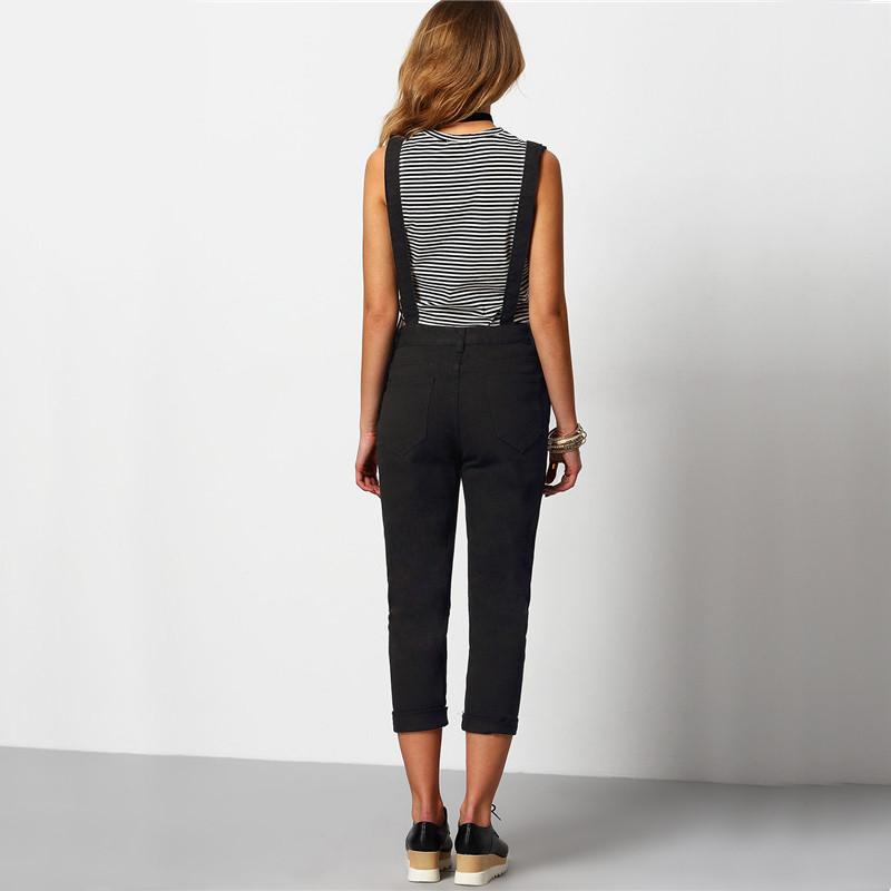 Shein kobiety kombinezon denim kombinezony 2016 wiosna jesień czarny pasek kieszenie pełna długość denim jeans ripped kombinezon 3