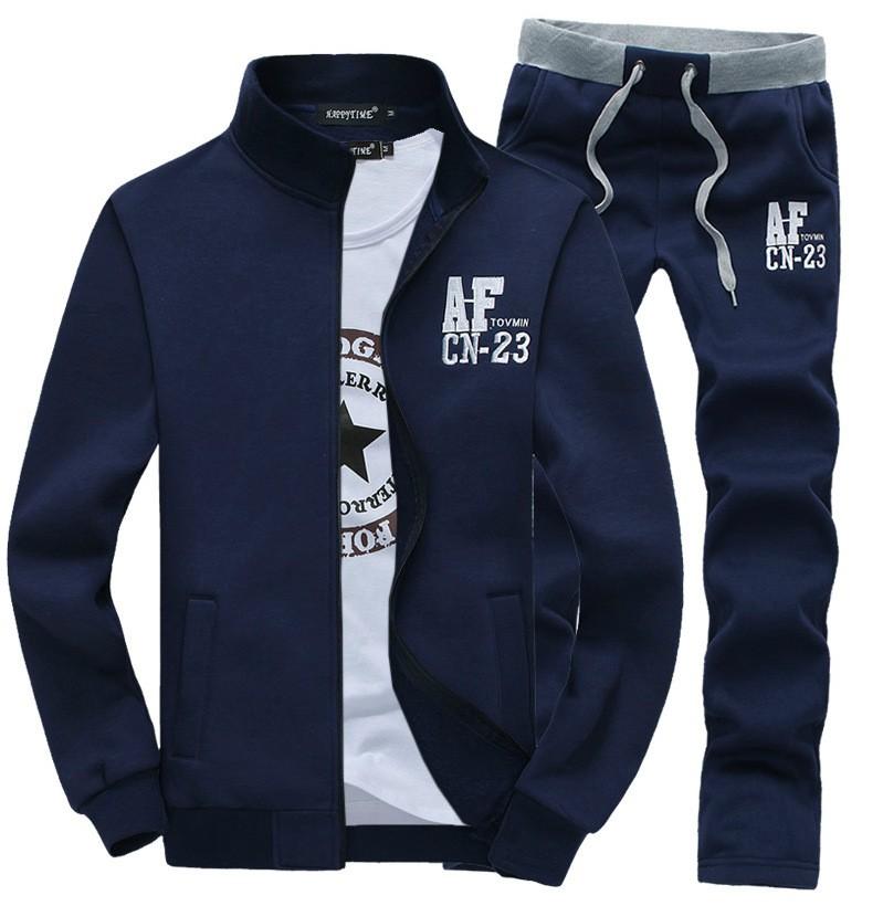 Nowy Cienki Sweterek Zamek Marka Sporta Kostiumu Dres Mężczyzn AF Bluzy Bluza + Spodnie Jogging Kostium 2 sztuk Zestaw Plus rozmiar M-3XL 4