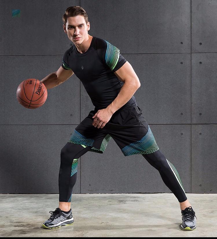 3 Sztuka Zestaw męska sport przebiegu stretch rajstopy legginsy + t shirt + spodenki spodnie treningowe jogging fitness gym kompresji garnitury 23
