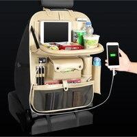 רכב מושב ארגונית מושב אחורי תיק 4 USB תשלום אחסון תיק בעל נסיעות multi-פונקצית כיס Stowing לסדר אוטומטי אבזרים
