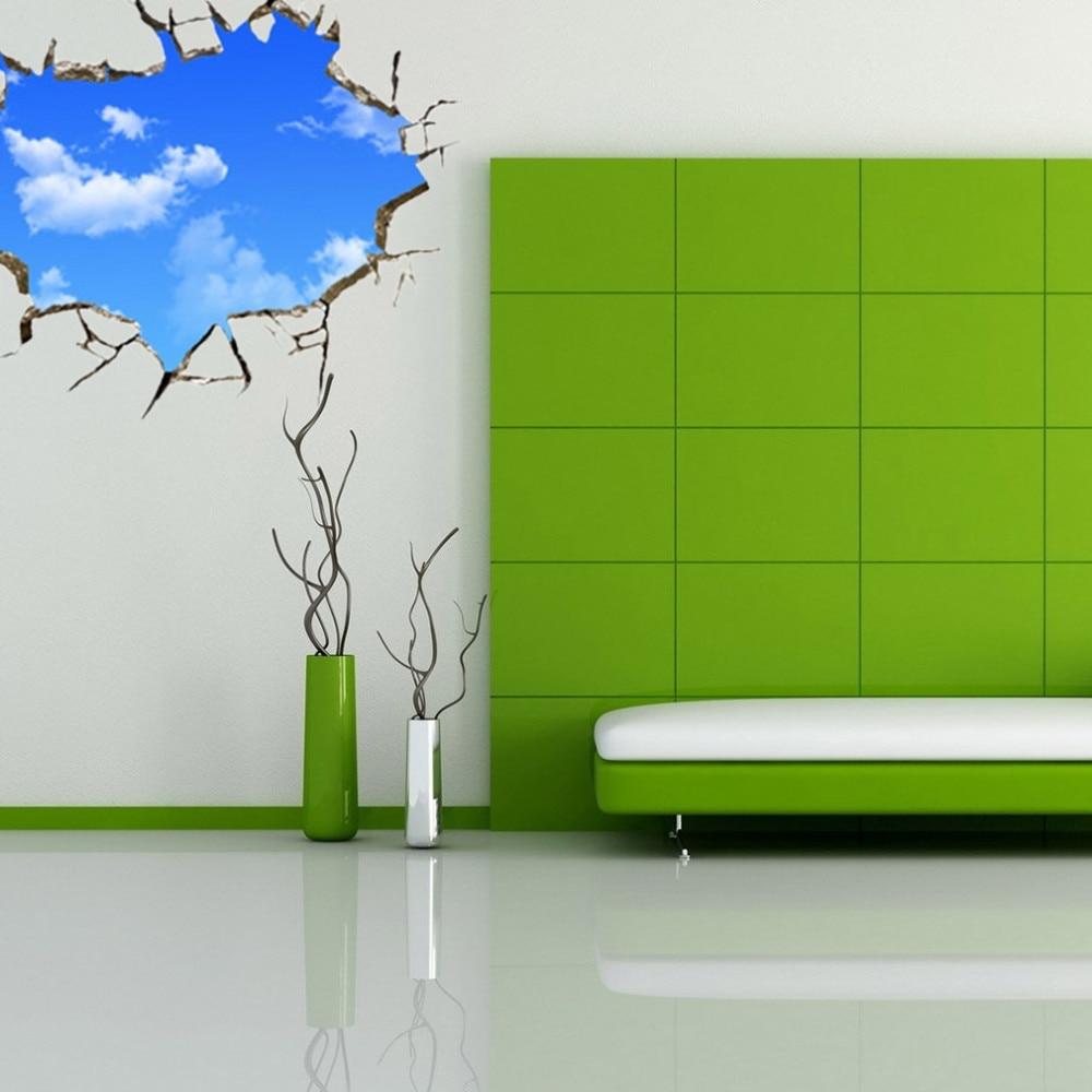 Nowy Kreatywny Błękitne Niebo Sufit Salonu Sypialni Naklejka Ścienna 3D Stereo 5