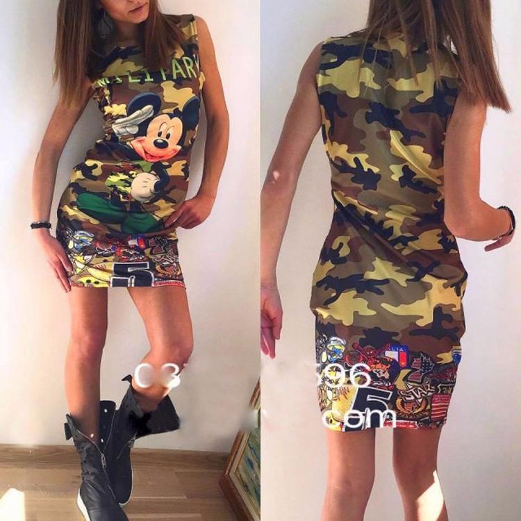 2017 kobiety moda lato bez rękawów bodycon wojskowy kamuflaż cartoon mouse list drukuj sexy mini dress vestido curto cortos 4