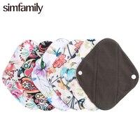 [Simfamily] 오가닉 대나무 숯 팬티 라이너 건강한 소재 내부 슈퍼 흡수 재사용 가능한 여성용 higiene 생리대, 4 개