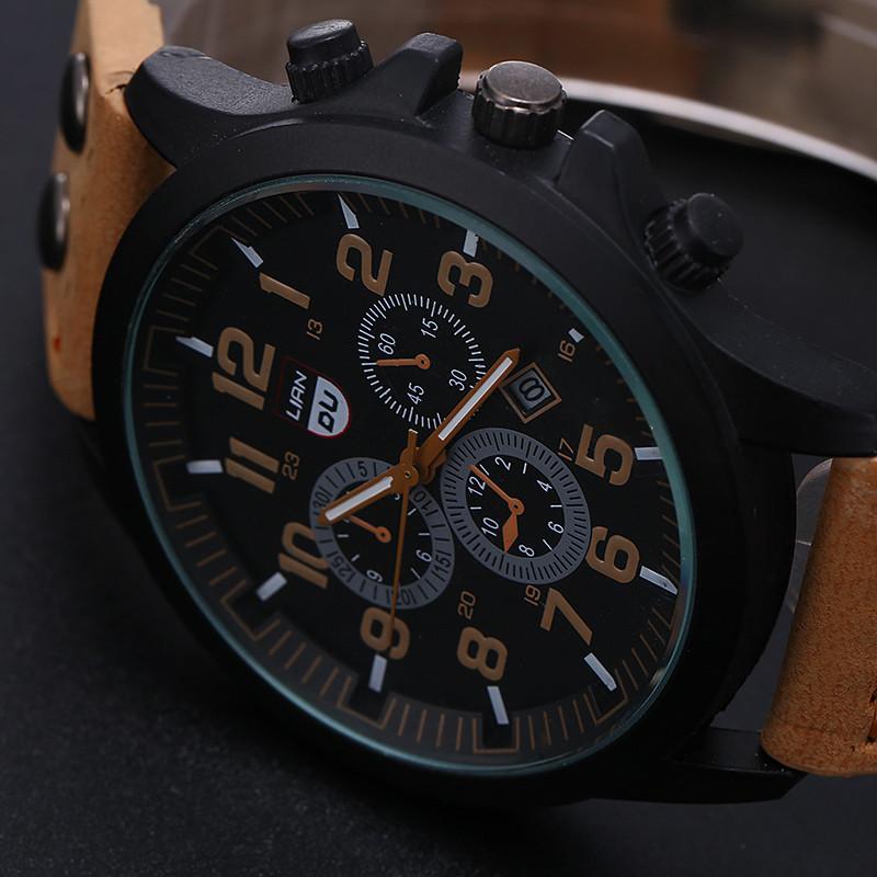 2016 New Business Quartz watch Men sport Zegarki Wojskowe Mężczyźni Corium Skórzanym Paskiem armii zegarek zegar godziny Kompletna Kalendarz 9