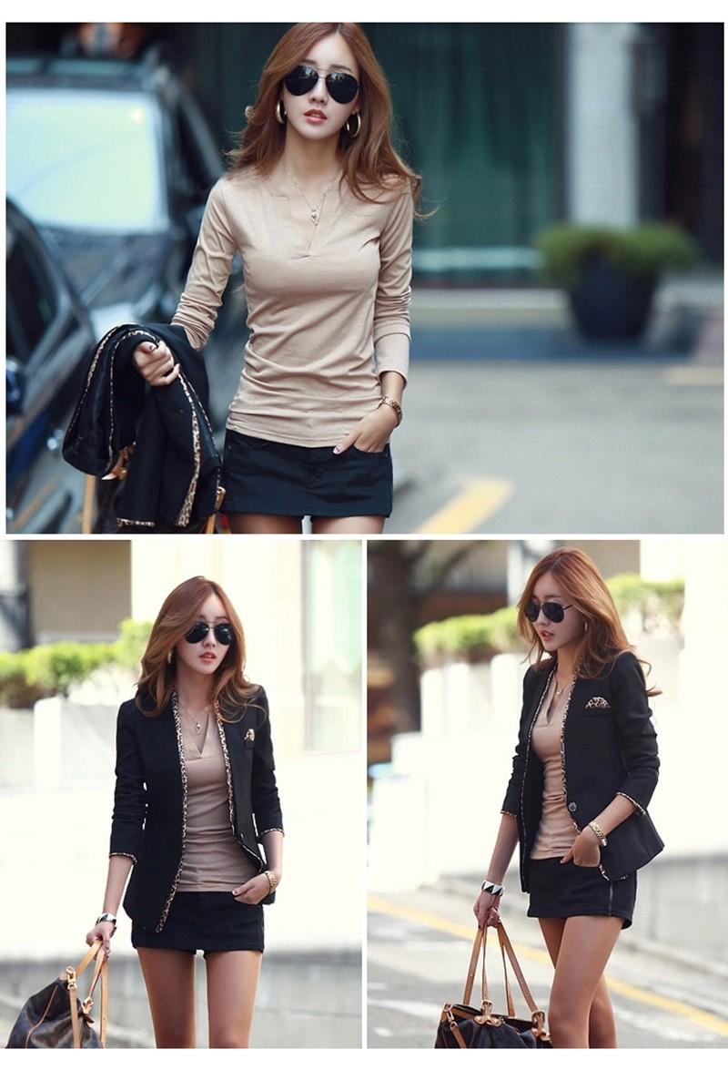 2017 stałe 14 kolory Dekolt Bluzki Sexy Szczupła Dzianiny Długi rękaw chemise femme koreański bluzki dla kobiet koszula clothing góry bluzka 12