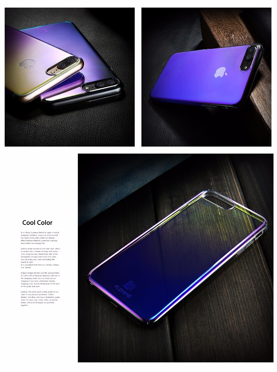 Floveme niebieski ray gradientu przypadki telefonów dla iphone 5 5s se 6 7 6 s plus case do samsung s8 s6 s7 pokrywa dla xiaomi redmi 4 mi5 krawędzi 8