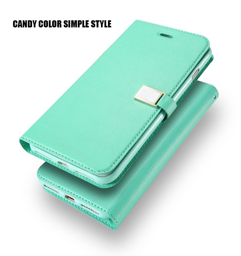 Kisscase candy kolor skóry case dla iphone 7 7 plus odwróć karty portfel slot case pokrywa dla iphone 6 6s plus 5S 5c 4S z logo 2