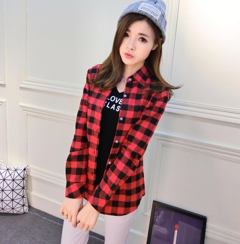 2017 hot sprzedaż jesień zima panie kobieta casual cotton lapel bluzka bluzki z długim rękawem kratę koszula kobiet szczupła odzieży wierzchniej clothing 5