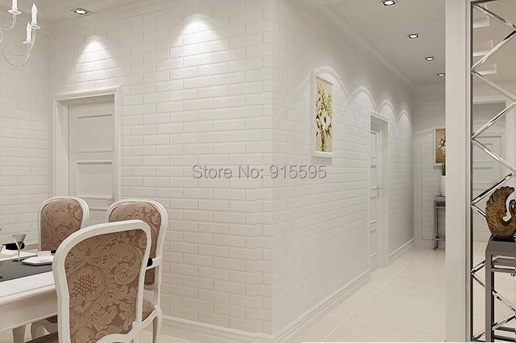 Off Biały 3D Nowoczesny Design Cegła Tapety Rolki Winylu Oblicowywanie Ścian Tapety Do Salonu Jadalni Sklep Tle 2