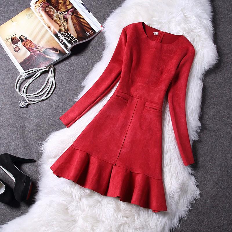 O-Neck Long Sleeve Suede Mini Dress 3