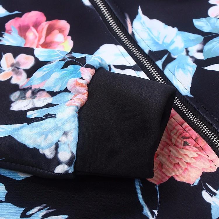 Kwiat Drukuj Kobiety Podstawowe Płaszcze Długim Rękawem Zipper Bomber Jacket Casual Kurtka Płaszcz Jesień Zima Streetwear sukajan 21