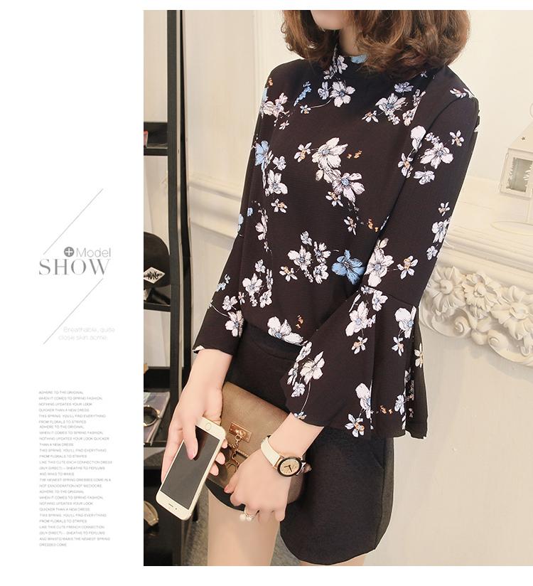 2016 jesień kwiatowy flare rękawem koszula szyfonowa bluzka kobiet topy kobiety biuro panie bluzka koreański fashion blusas chemise femme 7