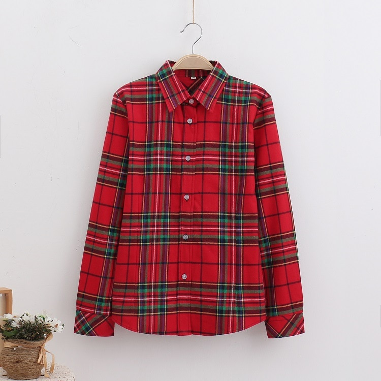 2016 Moda Plaid Shirt Kobiet College style damskie Bluzki Z Długim Rękawem Koszula Flanelowa Plus Rozmiar Bawełna Blusas Biuro topy 21