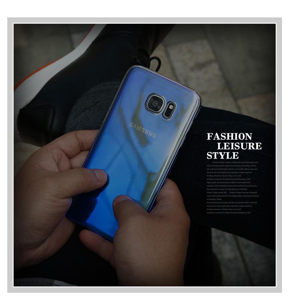 Floveme cool blue ray plastic case do samsung galaxy s7 s8 s6 S7 s8 Plus Krawędzi Gradient Kolor Platerowane Pokrywa Powrót Ochronna Shell 9