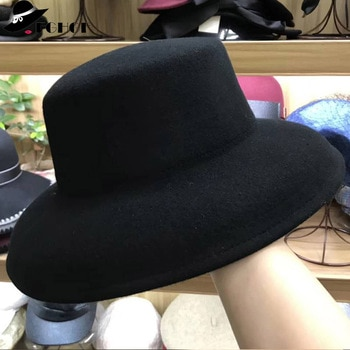 2fe2bfff64a 2018 New 10cm Wide Brim Women Hat Gray Black 100% Wool Felt Winter—Free
