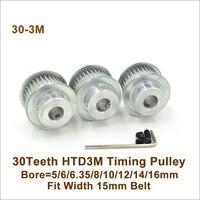 Powge polia da correia dentada de 30 dentes, 3m diâmetro 5/6/6, 35/8/10/12/14mm, ajuste w = 15mm htd 3m correia 30 t 30 dentes htd3m polia cnc