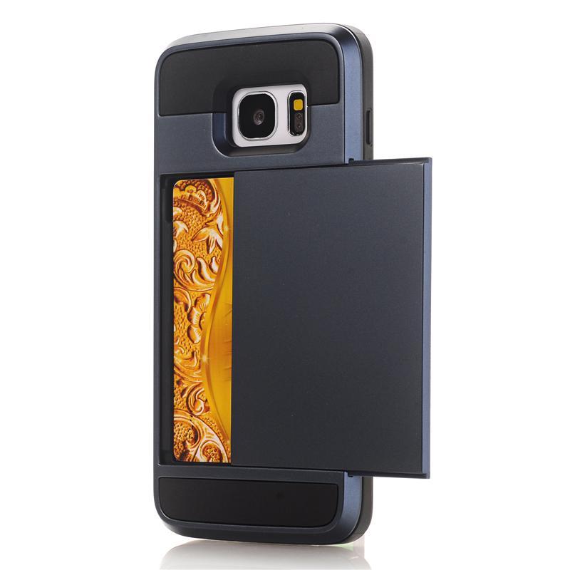 Zbroja slajdów credit card case do samsung galaxy s3 s4 s5 S6 S7 krawędzi Slot Portfel Shock Proof Skóry Twardego Plastiku + TPU Pokrywy Shell 15