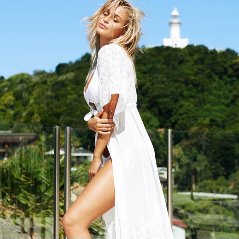 2016 moda lato sexy beach dress kobiety extra long lace tunique de plage plaży pareo plaża tunika sukienki 8