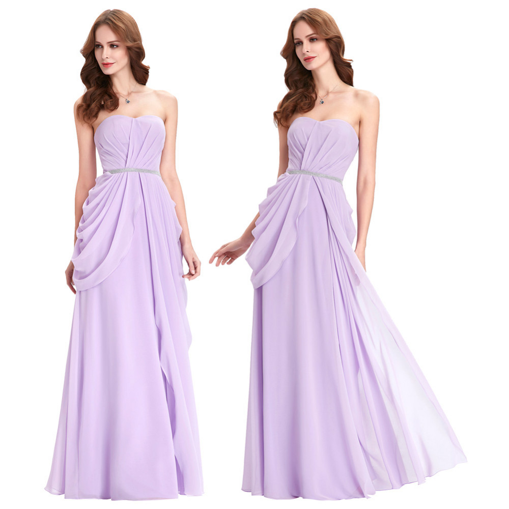 Purple Lavender Long Chiffon Floor Length Bridesmaid Dress 4