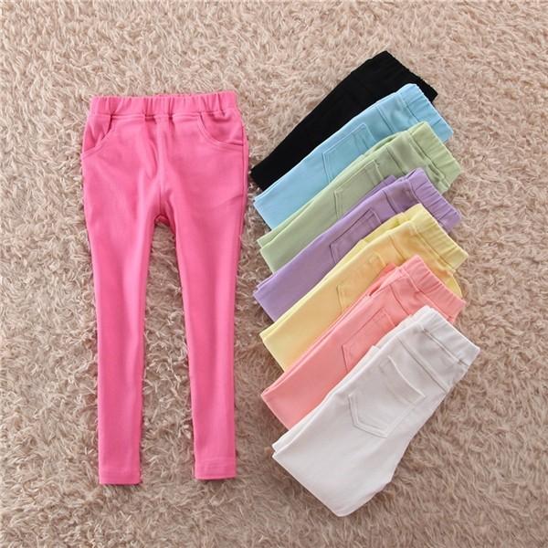 Tüdrukute moodsad pehmetes värvides skinny teksa efektiga legginsid  – 2-8 aastastele