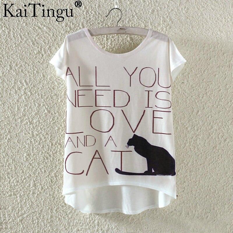 Kaitingu kawaii śliczne t koszula moda lato harajuku wysoki niski styl cat print t-shirt z krótkim rękawem t shirt kobiet topy plus size 9