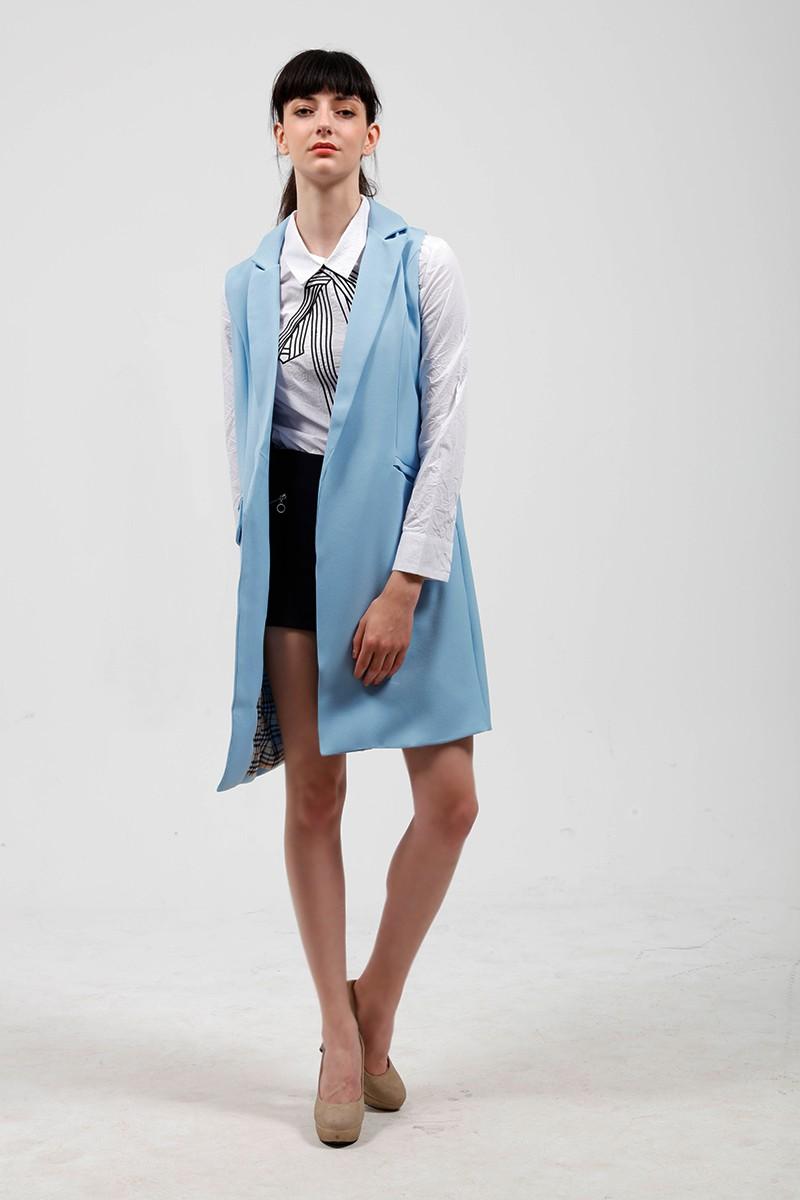 2017 wiosna nowy mody długie kieszenie turn-dół collar otwórz stitch pantone niebieski różowy beżowy czarny żakiet kamizelka bez rękawów kurtki 16