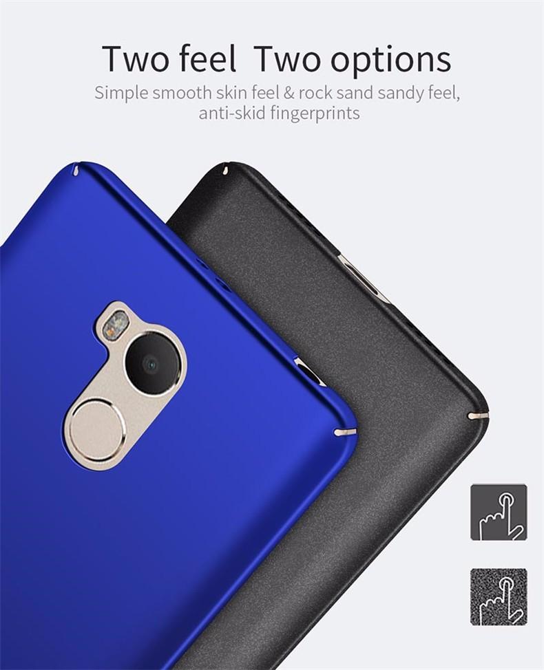 Luksusowe mocno plecy plastikowe matte case dla xiaomi redmi 4 pro przypadki przypadku xiaomi redmi 4 pełna pokrywa pc telefon komórkowy pokrycie p35 9
